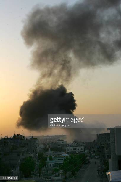 Smoke billows from the Gaza Strip following an Israeli air strike on December 28 2008 in Rafah Gaza Israel has launched further air strikes with more...