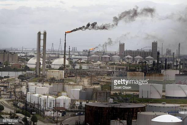 Smoke billows from the stacks at a refinery September 23 2005 in Pasadena Texas Hurricane Rita is expected to hit the Texas coast near Baytown early...