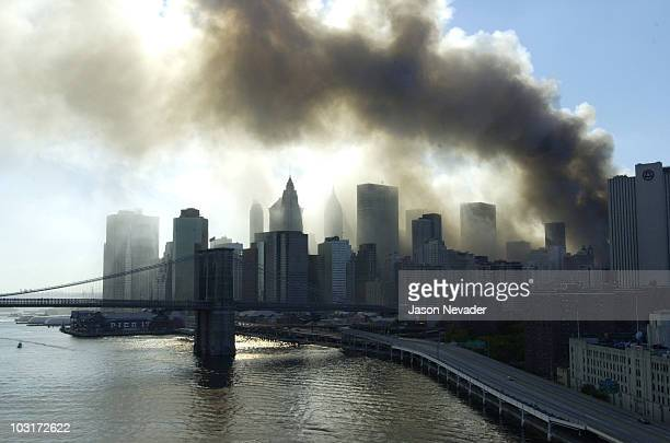 Smoke billows toward the harbor after the terrorist attack on the World Trade Center.