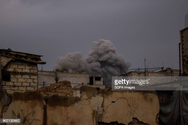 Smoke caused by airstrike seen in the center of Damascus Ghouta 17 civilians including 4 children and two women were killed and more than 100 others...