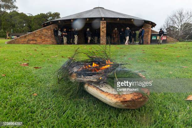 Smoke ceremony is performed at Melbourne Zoo on June 01, 2020 in Melbourne, Australia. Melbourne Zoo has reopened to the public as COVID-19...