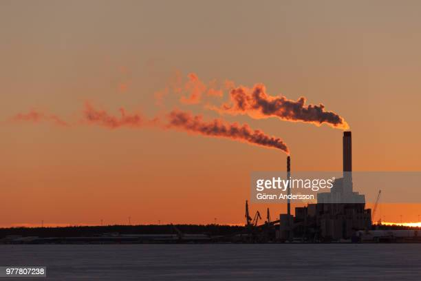 smoke coming out of power plant, china - chimney stock pictures, royalty-free photos & images