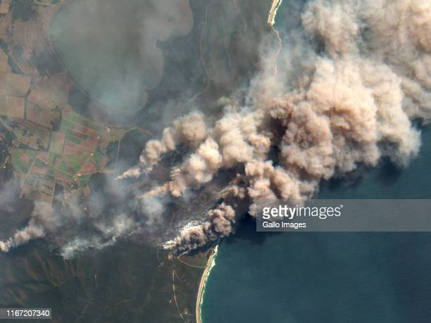 Smoke covering wide areas from fires around Shark Creek and the Yuraygir National Park by Bees Nest in Northern New South Wales, Australia.