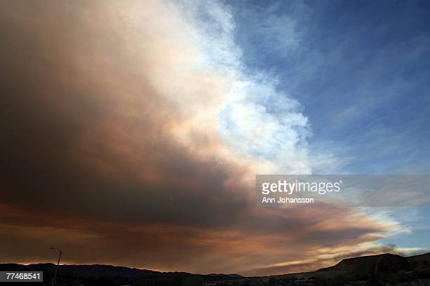 Smoke covers much of the sky as fires cause extremely poor air quality October 23 2007 above the Santa Clarita area California Strong Santa Ana winds...