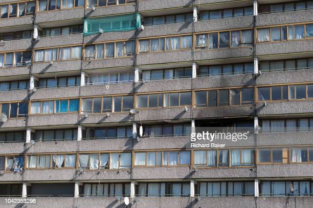 Smoke damage aftermath on the exterior of a flat fire in one of the two Wendover blocks on Alsace Road on the Aylesbury Estate Southwark SE17 on 24th...