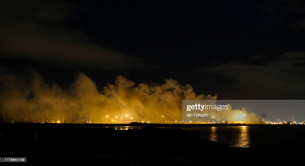 Huge Fire Rages At Former SSI Steel Site : News Photo