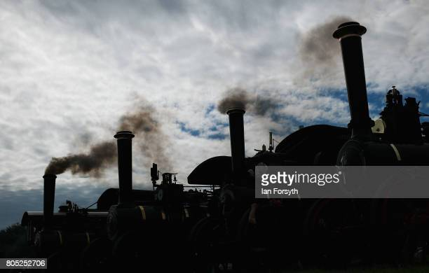 Smoke drifts skywards from steam engine chimneys during the Duncombe Park Steam Rally on July 1 2017 in Helmsley United Kingdom Held annually in the...