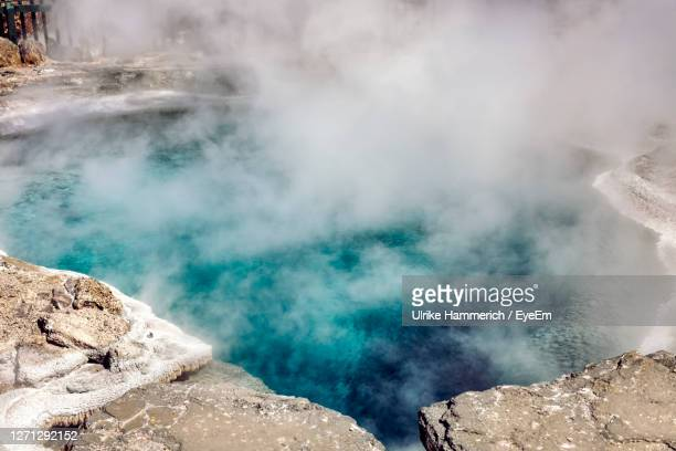 smoke emitting from hot spring - volcanic activity stock pictures, royalty-free photos & images