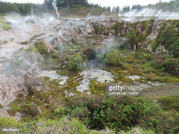 smoke emitting from volcanic crater - lucinda lee stock photos and pictures