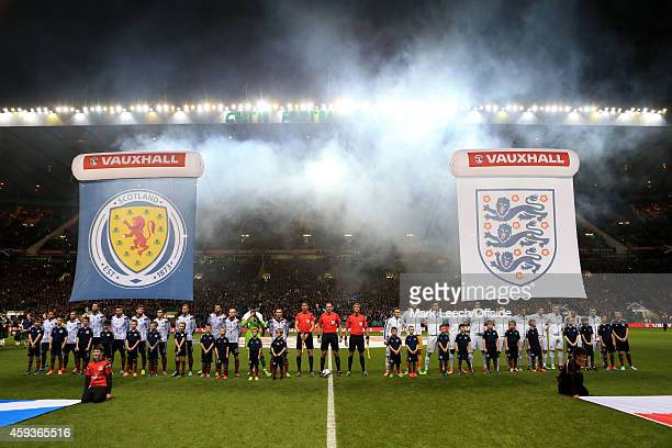 Smoke engulfs the stadium as the two teams line up prior to the International Friendly match between Scotland and England at Celtic Park on November...