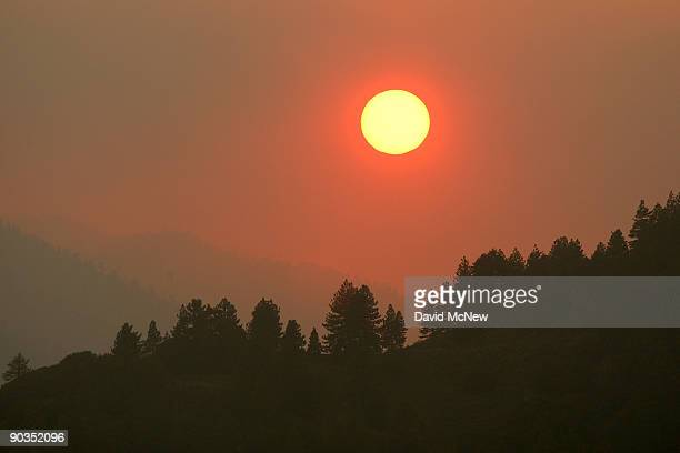 Smoke envelops as the sun brightly shines orange through the forest in the path of the 241squaremile Station Fire near its eastern front deep in the...