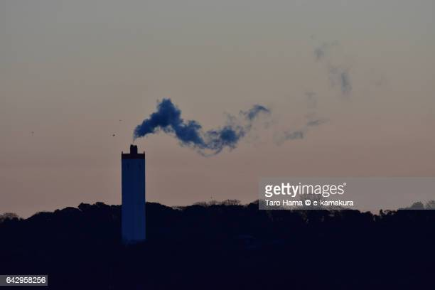 Smoke from a chimney in the morning