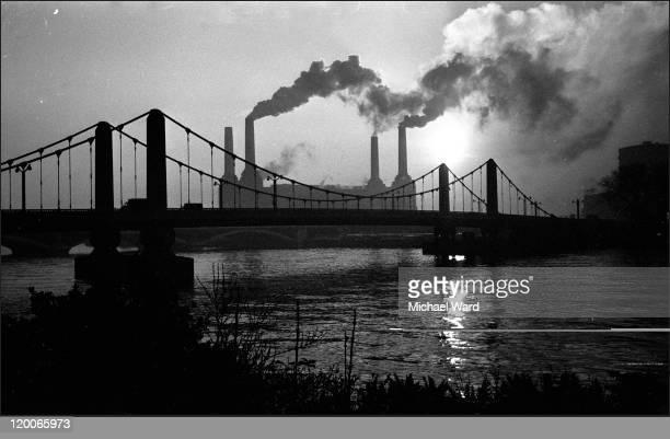 Smoke from Battersea Power Station viewed over Chelsea Bridge London 1970