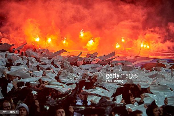 Smoke from pyrotechnics from the FC Copenhagen fans during the Danish Alka Superliga match between FC Copenhagen and Brondby IF at Telia Parken...