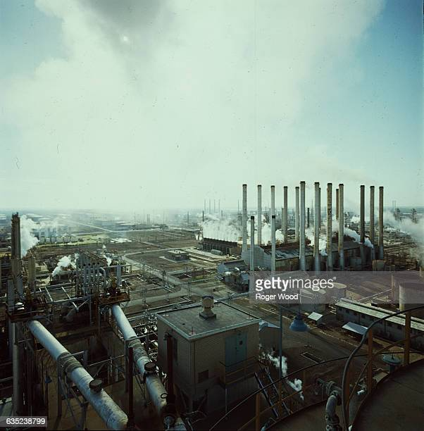 Smoke from the Abadan Oil Refinery in Iran fills the southeastern sky
