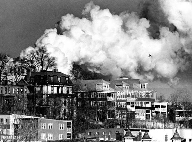 Smoke from the Boston Edison plant rises over South Boston on Jan 9 1973