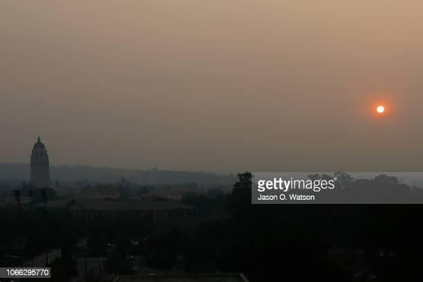 Smoke from the Camp Fire hangs over the Stanford University campus before the game between the Stanford Cardinal and the Oregon State Beavers at...