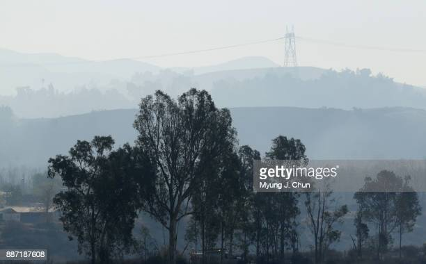 Smoke from the Creek fire hangs over SunlandTujunga on December 6 2017 in Shadow Hills California
