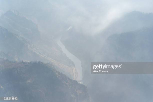 Smoke from the Grizzly Creek Fire blankets Glenwood Canyon and Interstate 70 on August 26, 2020 in Glenwood Springs, Colorado. The fire, which is at...