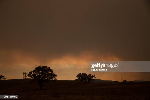 Smoke from the new Clear Range Fire to the south of Canberra near Michelago on January 31 2020 in Michelago Australia ACT Chief Minister Andrew Barr...