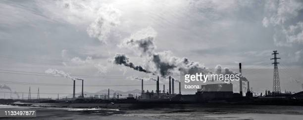 smoke from the power station - coal fired power station stock photos and pictures