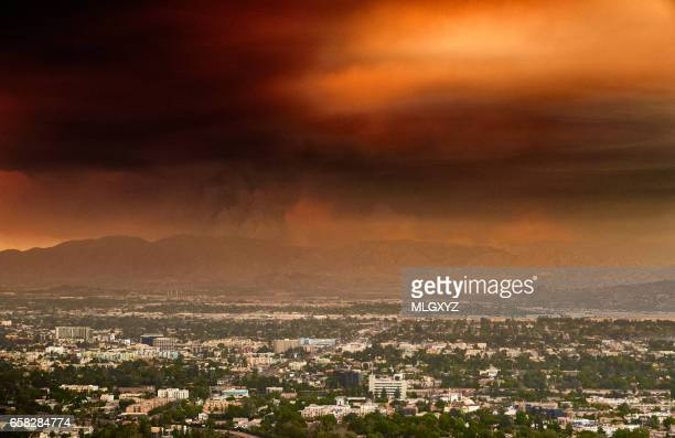 smoke from the sand fire in the san fernando valley - san fernando california stock photos and pictures