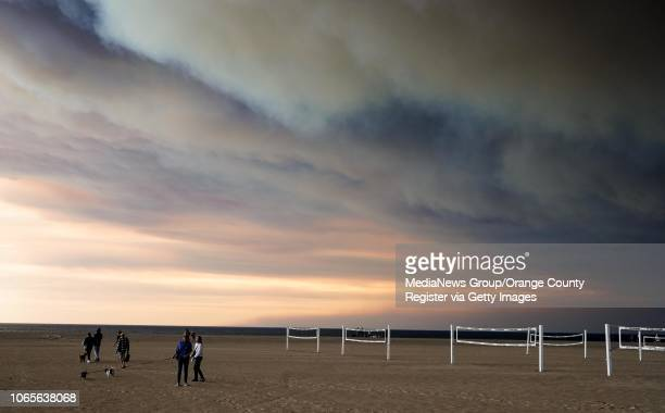Smoke from the Woolsey Fire darkens the sky at Zuma beach in Malibu on Friday Nov 9 2018
