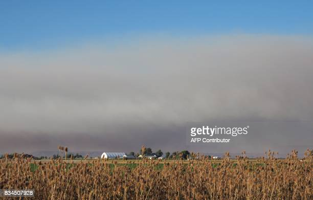Smoke from wildfires darkens the sky above a farmer's field in Madras Oregon on August 17 ahead of the total solar eclipse on August 21 The western...