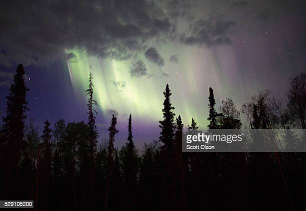 Smoke from wildfires drifts across the night sky on May 7 2016 near Fort McMurray Alberta Canada Wildfires which are still burning out of control...