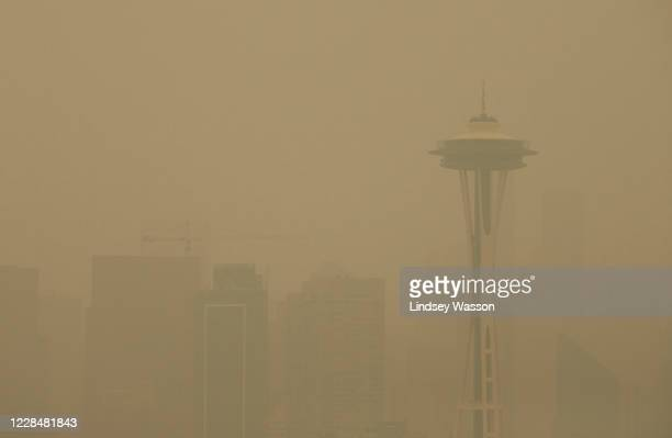 Smoke from wildfires obscure the Space Needle and the Seattle skyline on September 12, 2020 in Seattle, Washington. According to the National Weather...