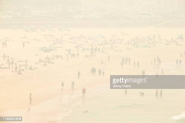 Smoke haze is seen over Bondi Beach as the air quality index reaches higher than ten times hazardous levels in some suburbs on December 10 2019 in...
