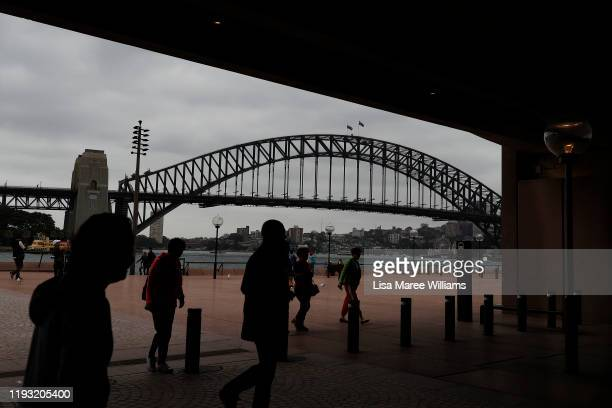 Smoke haze is seen over Sydney Harbour as the air quality index reaches higher than ten times hazardous levels in some suburbs on December 11 2019 in...