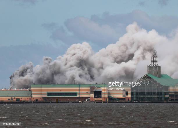 Smoke is seen rising from what is reported to be a chemical plant fire after Hurricane Laura passed through the area on August 27, 2020 in Lake...
