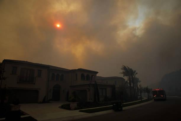 CA: Firefighters Battle The Silverado Fire In Orange County