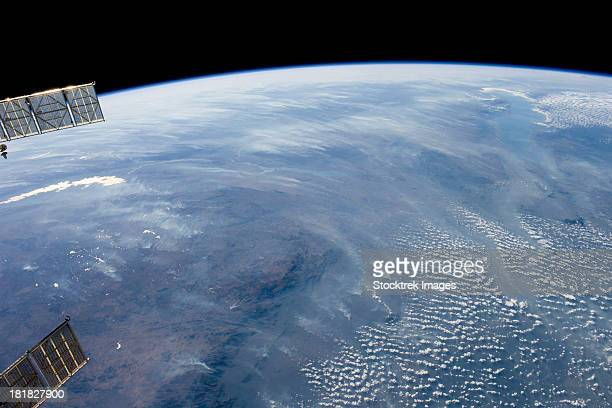 A smoke pall dominates this view of tropical southern Africa.
