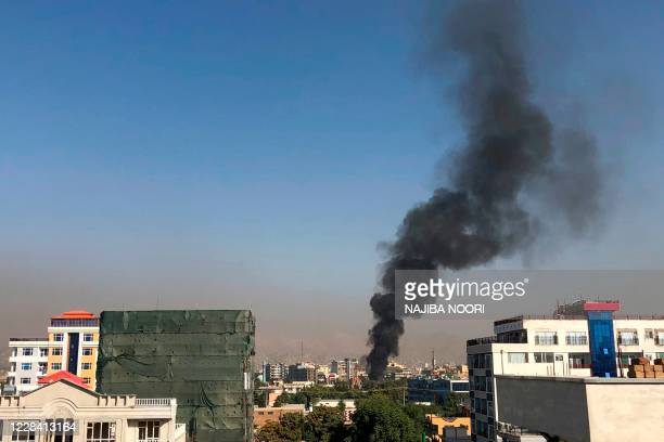 Smoke plume rises following an explosion targeting the convoy of Afghanistan's vice president Amrullah Saleh in Kabul on September 9, 2020.