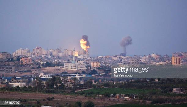 Smoke plumes rise over Gaza following Israel Air Force bombing on November 16 2012 near Sderot Israel Conflict between the Israeli military and...