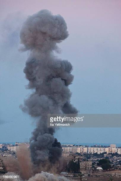 Smoke plumes rises over Gaza following Israel Air Force bombing on November 16, 2012 near Sderot, Israel. Conflict between the Israeli military and...
