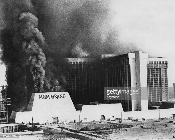 Smoke pours from the MGM Grand Hotel and Casino in Las Vegas at the height of a fire in which 85 people died 21st November 1980 The hotel was rebuilt...