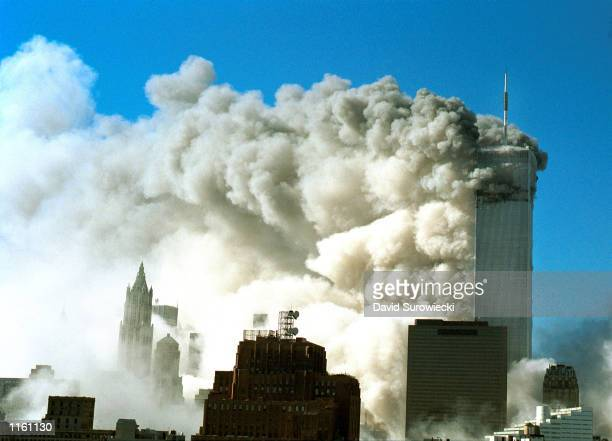 Smoke pours out of the World Trade Center after the twin towers were struck by two planes during a suspected terrorist attack September 11 2001 in...