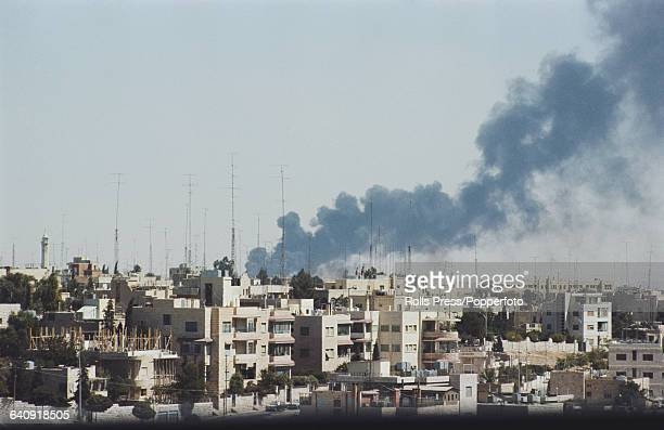 Smoke rises above the city of Amman Jordan following a period of fighting between Jordanian Armed Forces and the Palestine Liberation Organisation...