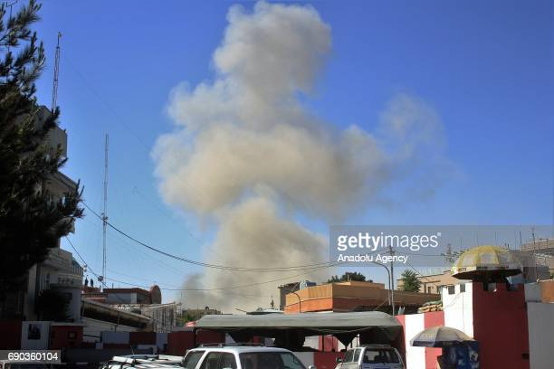 Smoke rises after a bomb attack at Wazir Akbar Khan neighborhood of Kabul Afghanistan on May 31 2017