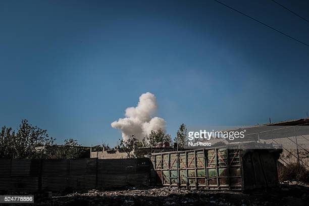 Smoke rises after a Russian Air strikes in east Ghouta on November 14 2015