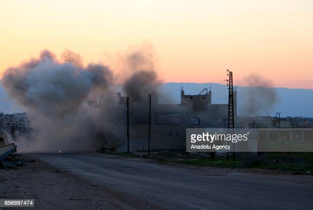 Smoke rises after a war craft belonging to the Assad Regime Forces carried out airstrikes on the Urze village which was taken from the regime forces...
