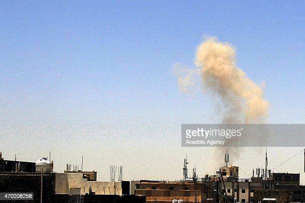 Smoke rises after airstrikes as a part of the 'Decisive Storm' operation carried out by Saudiled coalition against Houthi militants in Daris Region...
