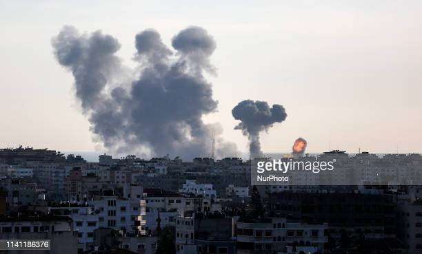 Smoke rises after an attack of Israeli aircraft in Gaza City on May 4 2019