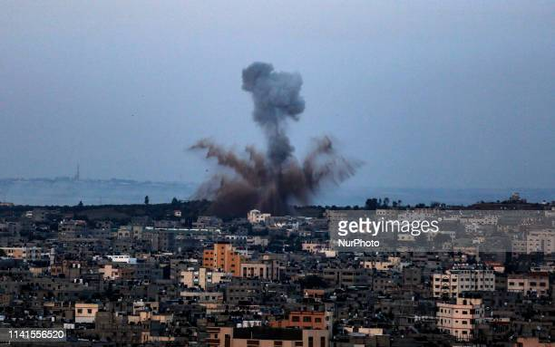 Smoke rises after an Israeli air strike in Gaza City on May 05 2019