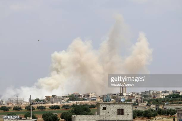 Smoke rises after Assad regime carried out airstrikes over Homs, Syria on April 29, 2018.