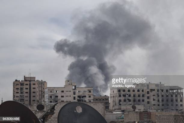 Smoke rises after Assad Regime carried out an airstrike at Duma town of Eastern Ghouta in Damascus Syria on April 07 2018
