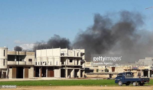 Smoke rises after Assad Regime carried out an airstrike to Han Seyhun of Idlib Syria on February 27 2018 The UN Security Council on February 24...